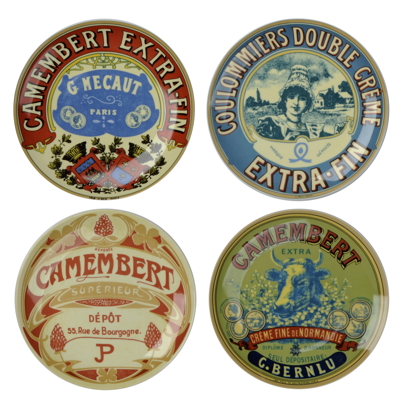 Set of 4 Classic Camembert Plates  by BIA