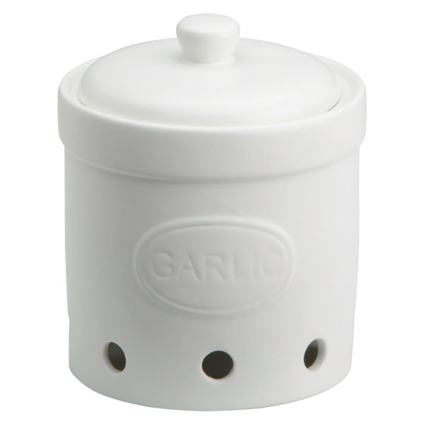 Garlic Storage Jar Matte White by BIA