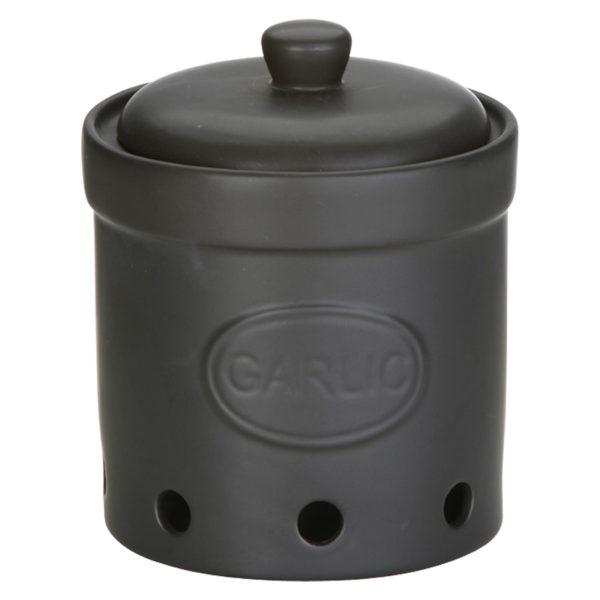 Garlic Storage Jar Matte Black by BIA