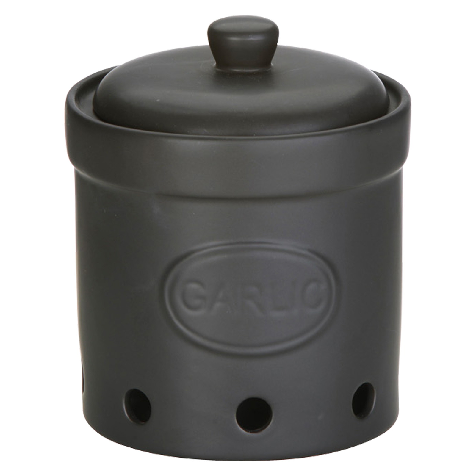 Garlic Storage Jar Matte Black by BIA