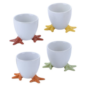 Set of 4 Chicken Feet Egg Cups Assorted Colours by BIA