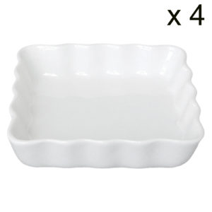 Set of 4 Square Flan Dishes by BIA