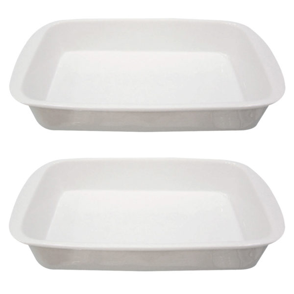 Set of 2 Handled Rectangular Roasters Small by BIA