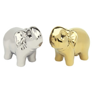 Elephant Salt & Pepper Shakers Gold & Platinum by BIA
