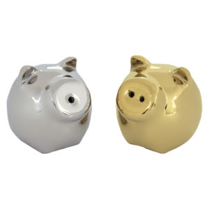 Mini Pig Salt & Pepper Shakers Gold & Platinum by BIA