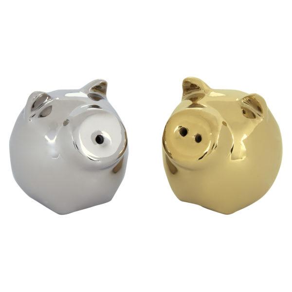 Mini Pig Salt & Pepper Shakers Gold & Platinum by BIA