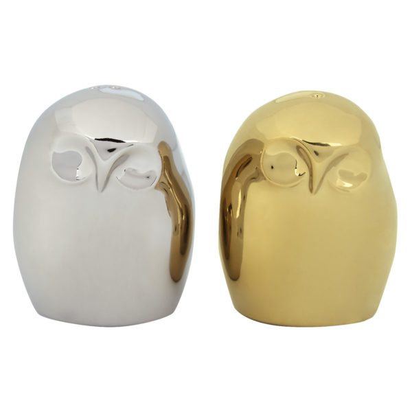 Owl Salt & Pepper Shakers Gold & Platinum by BIA