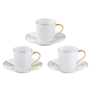 Set of 3 Lux Espresso Cups & Saucers Gold by BIA