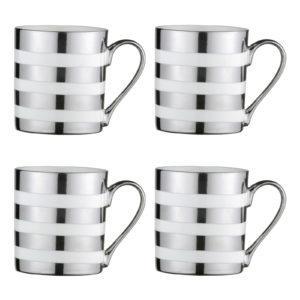Set of 4 Tartan Mugs Platinum by BIA