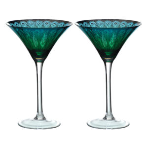 Peacock Wine Glasses - Set of 2