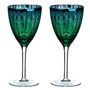 Peacock Wine Glasses - Set of 2