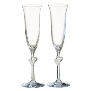 Set of 2 Heart Flutes Frosted by Stolzle