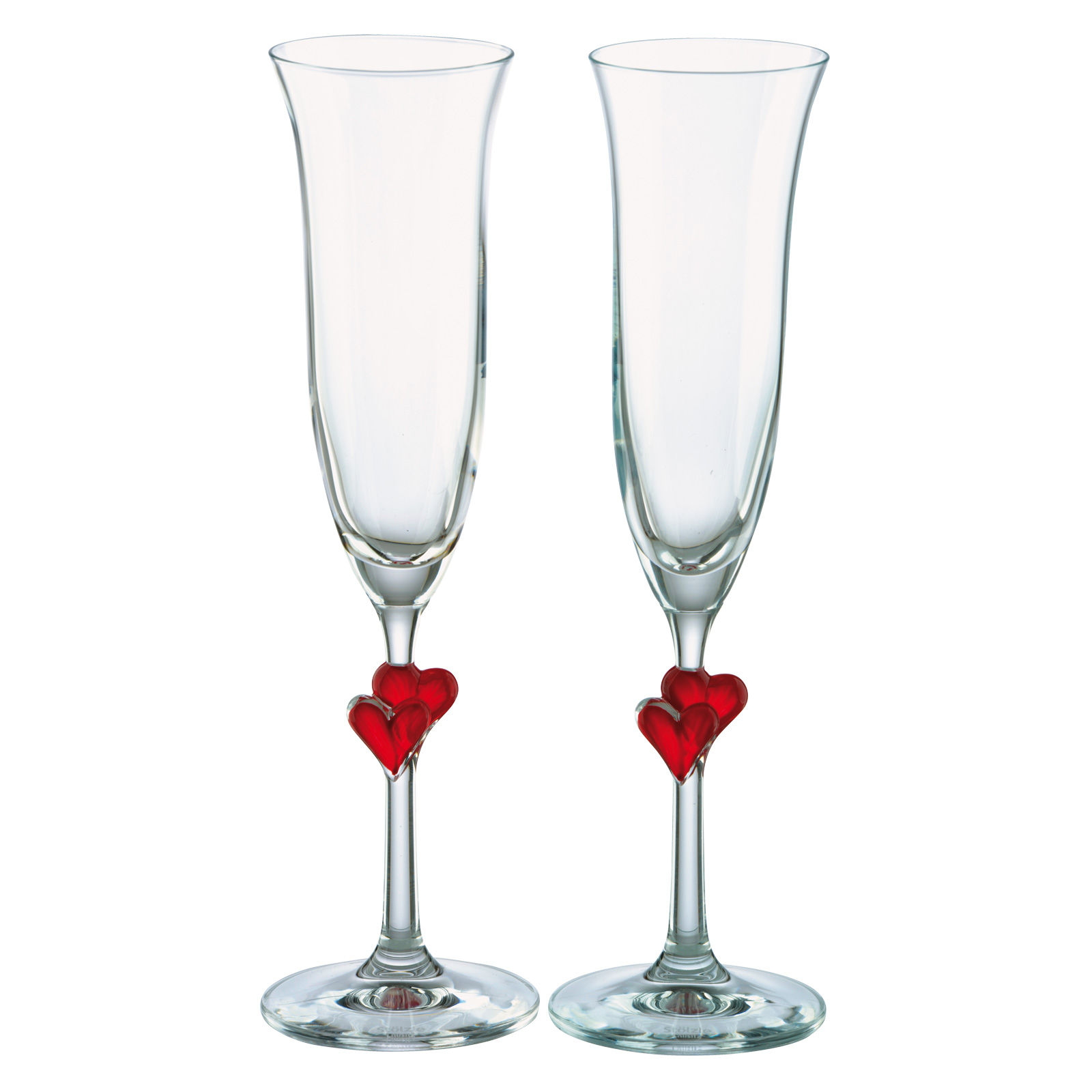Set of 2 Heart Flutes Red by Stolzle