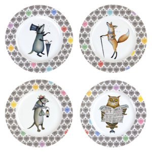 Set of 4 Funimals Plates by Clare Mackie