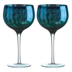Peacock Gin Glasses - Set of 2