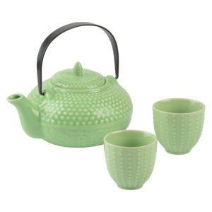 Oriental Hobnail Teapot & 2 Cups Jade by BIA