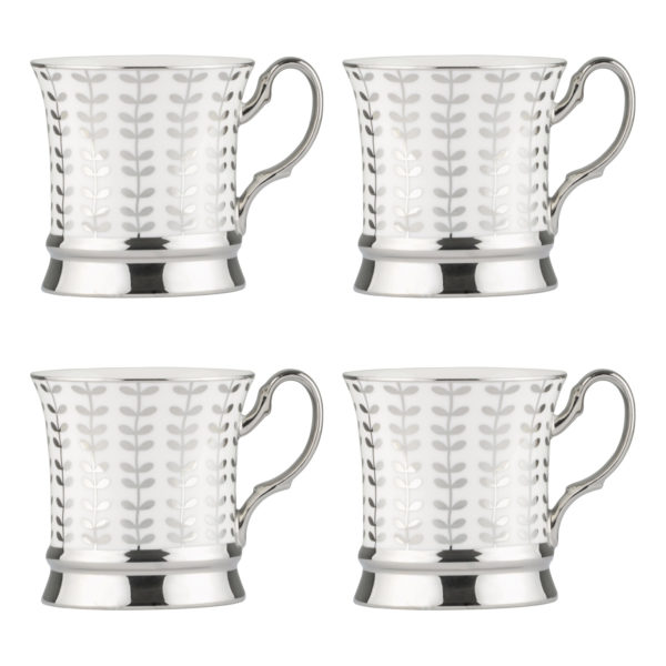 Set of 4 Vine Mugs Platinum by BIA