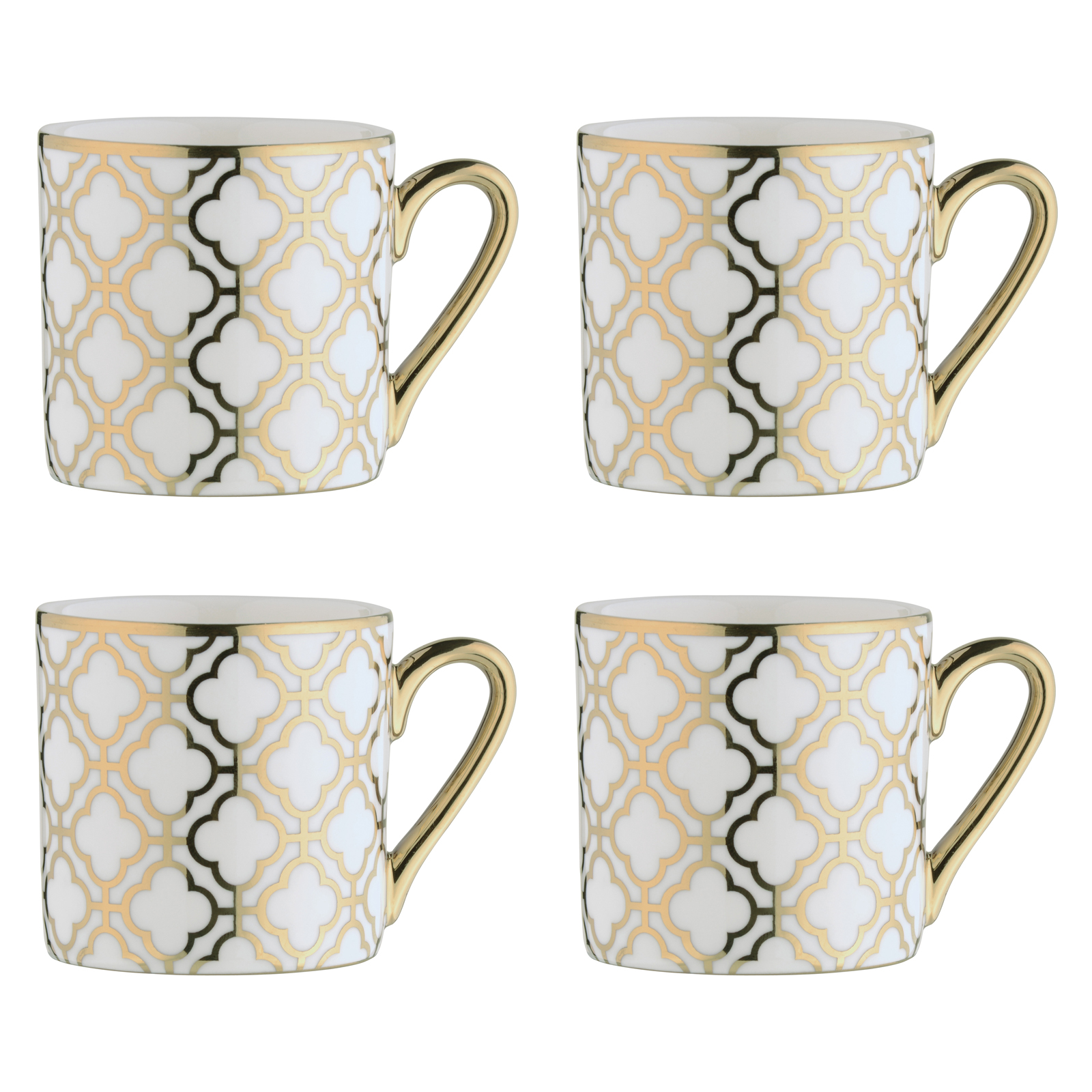 Dots Silver Espresso Mugs - Set of 4