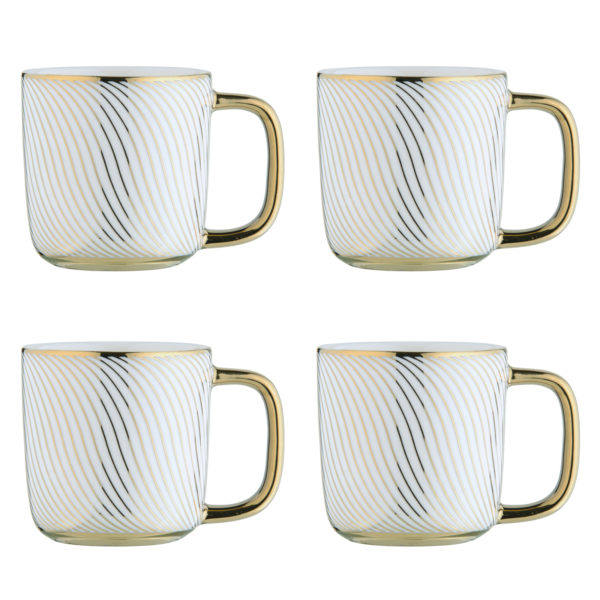 Swirl Gold Espresso Mugs - Set of 4