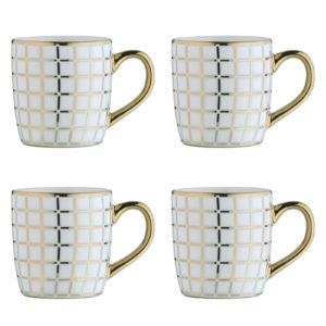 Lattice Gold Espresso Mugs - Set of 4