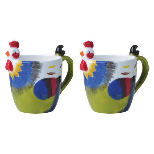 Dawn Chorus Green Mugs, Set of 2