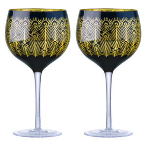 Set of 2 Midnight Peacock Wine Glasses