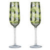 Tropical Leaves Champagne Flutes- Set of 2
