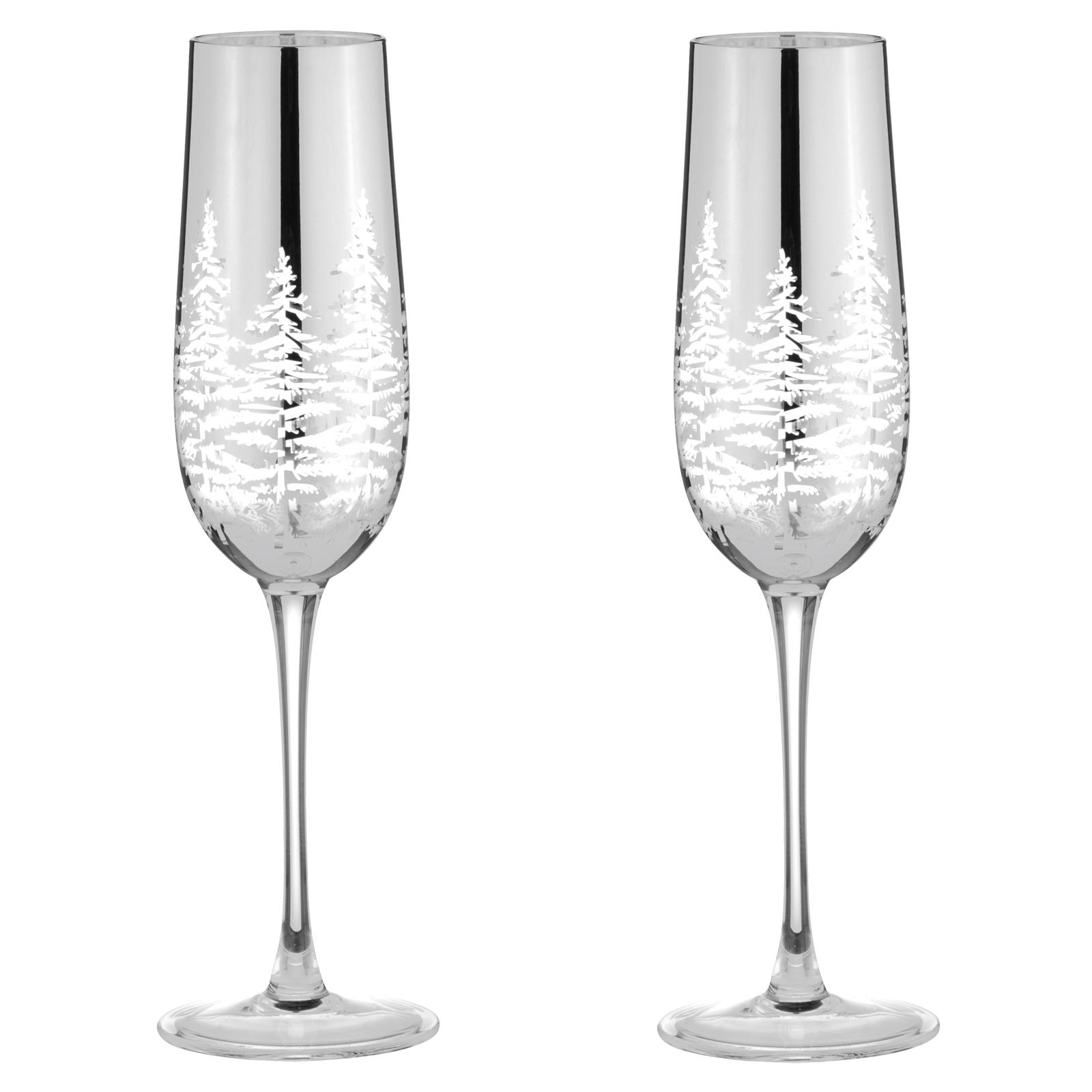 Alpine Silver Champagne Flutes - Set of 2